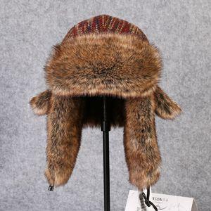 Image 1 - Chapeau bombardier en fourrure en lapin Rex, couvre neige, épaisse et chaude, en fourrure russe pour hommes, couvre oreilles, Ushanka, chaude, B 8433