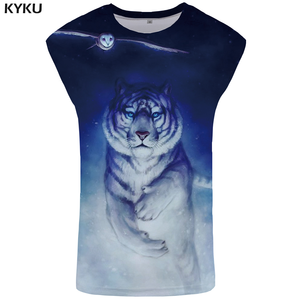 KYKU Brand Tiger   Tank     Top   Men Animal Ftness Clothing Owl Singlet Space Vest Mens Bodybuilding Undershirt Sleeveless Shirt