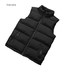FALIZA 2019 New Autumn Men Vest Sleeveless Jacket Men Winter Waistcoat Men's Vest Fashion Casual Coats Mens Plus Size 8XL MJ108