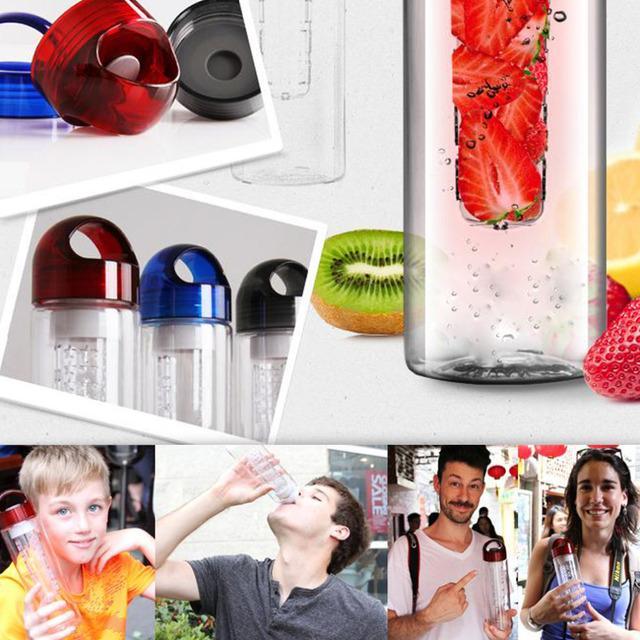 700ml Fruit Juice Glass Infuser Sport Drinking Detox Water Bottles Flip Lid TRITAN BPA Free Health Lemon Bicycle Bottle 3colors