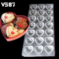 Plastic Polycarbonate Chocolate Cake Mold 21 Cavity Heart Shaped Clear Mold DIY Handmade Baking Tools Bakeware