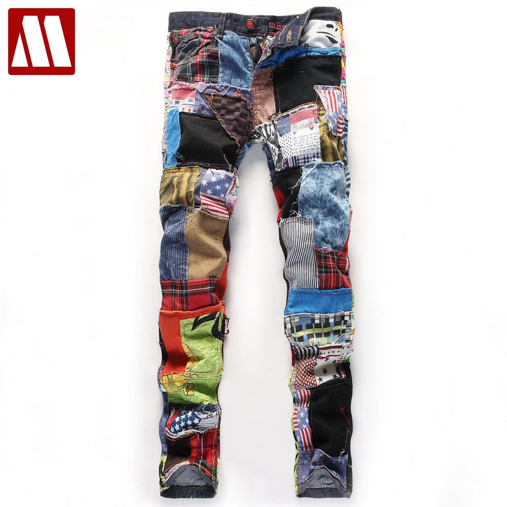 Новый модный пэчворк Для мужчин прямые Зауженные джинсы Высокое качество нищий брюки выделяющийся Дизайн шить мытья Локомотив джинсы 28-38