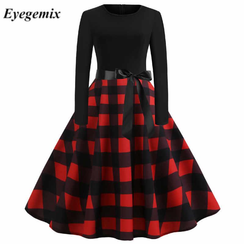 2019 Outono Inverno Retro Vintage Vestido Magro Plaid Imprimir Casual Vestido Bodycon Plus Size Vestido Elegante Vestidos de Festa Dos Namorados