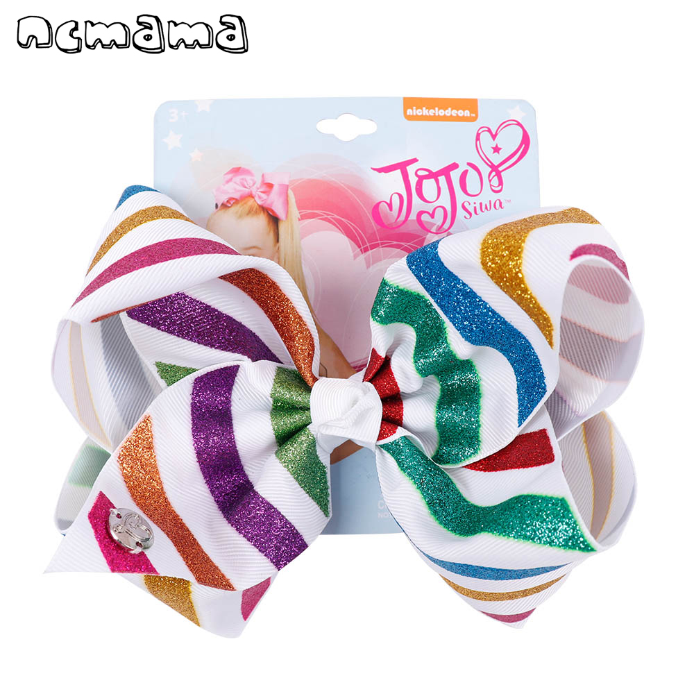 7Large Stripe Glitter Hair Bow For Girls Kids Grosgrain Ribbon Rainbow Hairbows Back To School Hairgrips Hair Accessories