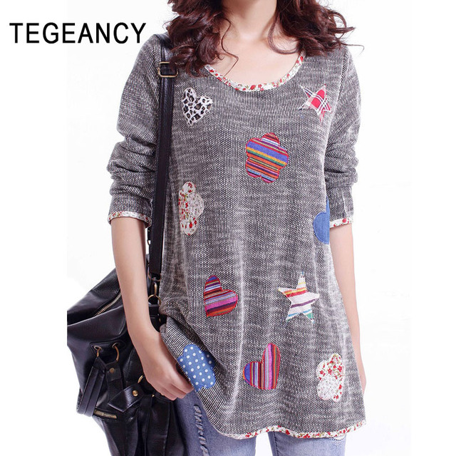 Female Thin Knitted Sweater Autumn Long Tops Women Embroidery Patchwork Big Size Loose Sweater Spring Khaki Gray Long Pullovers