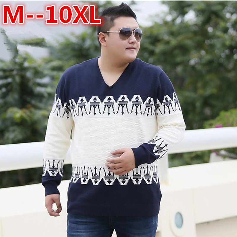10XL 8XL 6XL 5XL Autumn Casual Mens Sweater V-Neck Striped Loose Fit Knittwear Mens Sweaters Pullovers Pullover Men Pull Homme