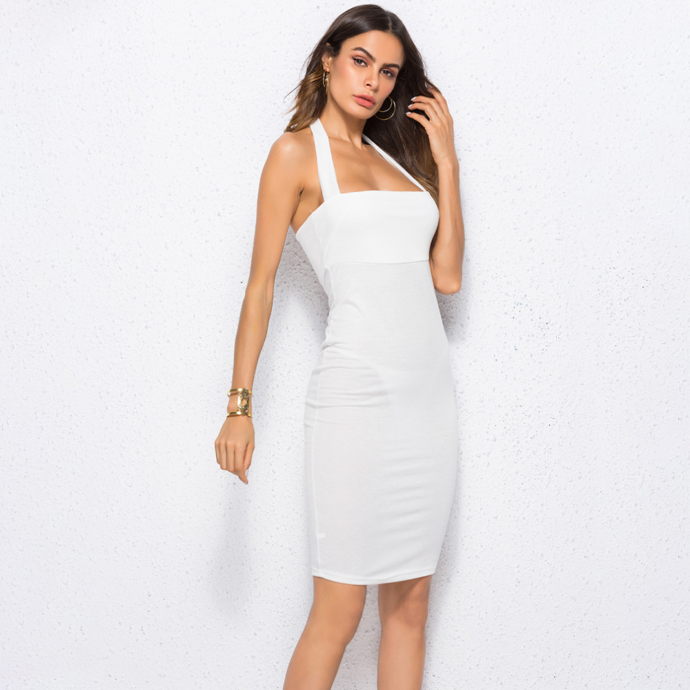Buy Bandage Dress Halter Strapless Summer Women Sexy Party Dresses Backless Bodycon Sleeveless Knee-Length Club Dress Femme