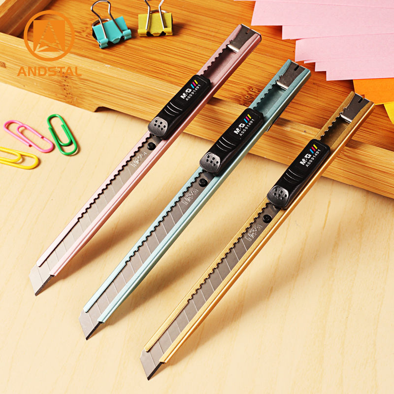 M&G 3/6/12/24pcs Cool Metallic Color Mini Utility Knife 9mm Paper Cutter Stationery Knife Stainless Steel Metal Office Craft Box