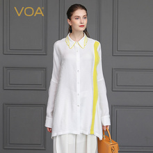VOA White 100% Silk Blouse Women Oversize Ladies Top Plus Size Loose Office Work Shirt Harajuku Casual Clothing Long blusas B823