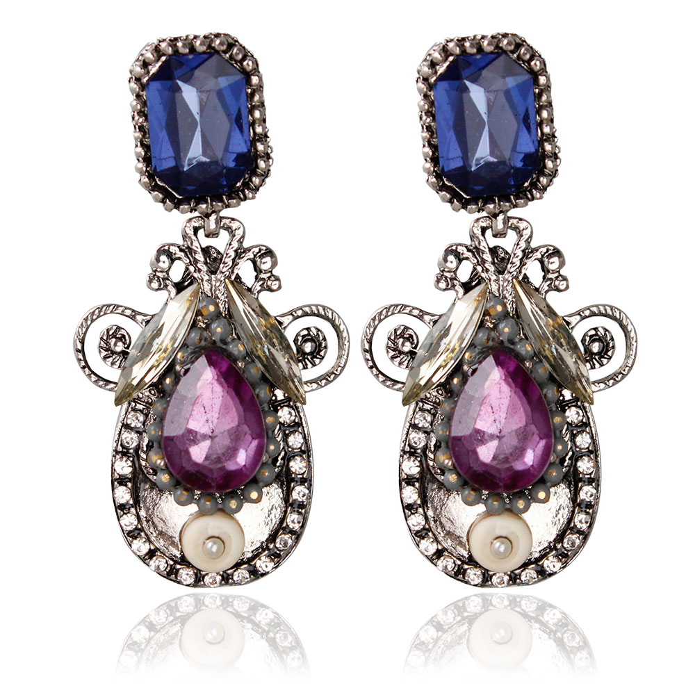 F&U Europe Old Fashion Vintage Antique Gold and Silver Color Oval Shaped Resin Crystal Dangle Earrings