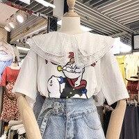 cartoon printed short sleeved T shirt, Xia Xin Korean version of loose bottom shirt, half sleeve T shirt jacket