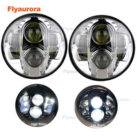 2X80W 7 12V head lamp Hi/low beam white light with DRL 7 inch round LED car headlight for Jeep automobiles motorcycl esciclet
