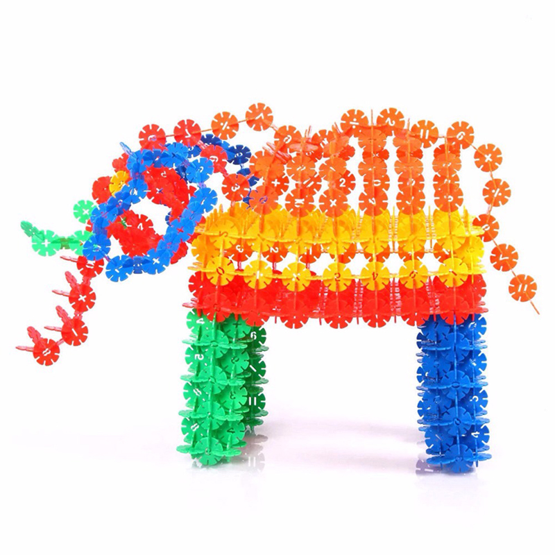 Купить с кэшбэком 300-1200Pcs Big Size Children Kid Baby Toys Multicolor Building Blocks Snowflake Creative Educational Construction Plastics Toys