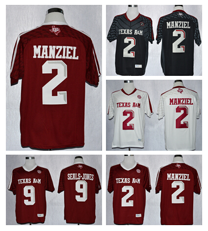 b68410dc566 ... where to buy mens black red white 2 johnny manziel texas am aggies  jersey 9 ricky