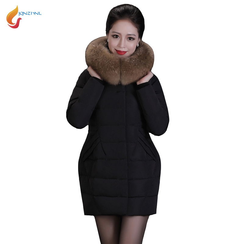 JQNZHNL Middle-aged Women Casual Down Cotton Coats Outerwear 2017 New Winter Big Fur Hooded Thicken Cotton-padded Jacket 5XL C01 2016 winter jacket women down coat fur hooded vest down coats vest pant underwear women s suit thicken set outerwear trousers