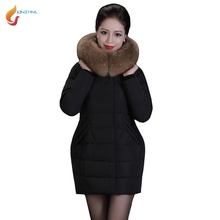 JQNZHNL Middle-aged Women Casual Down Cotton Coats Outerwear 2017 New Winter Big Fur Hooded Thicken Cotton-padded Jacket 5XL C01