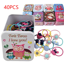 40Pcs/lot Children Pink Hair Accessories Flower Bow Cartoon Headband Elastic Bands Hairband with Tin Box Colorful Baby Girl Gift
