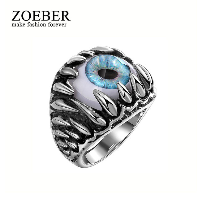 Zoeber Punk Rock Resident Evil Eye Ring Stainless Steel Party Fashion Jewelry Trendy Blue Demon Men Bands