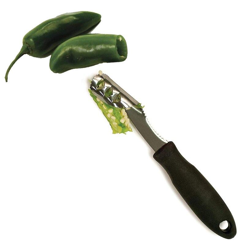 LMETJMA Jalapeno Pepper Corer Stainless Steel Pepper Chili Corer Remover With Serrated Edge Zucchini Cucumber Corer KC0276