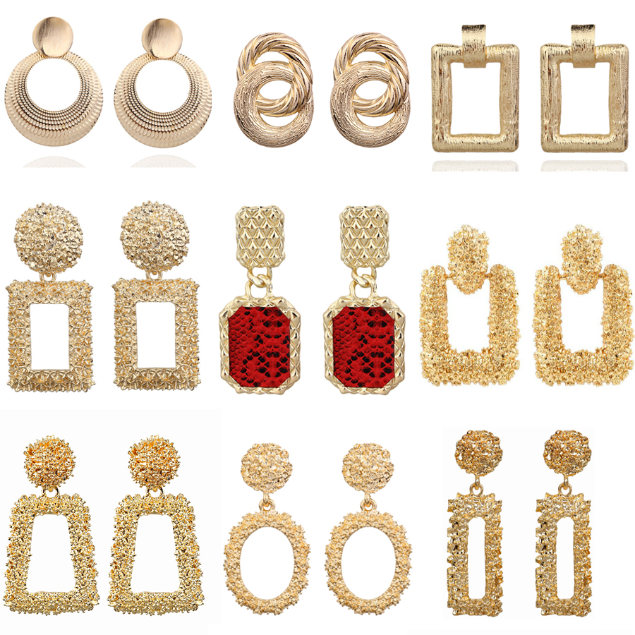 2019 Vintage Earrings Large for Women Statement Earrings Geometric Gold Metal Pendant Earrings Trend Fashion Jewelry