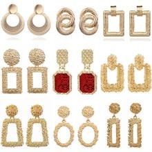 2019 pendientes Vintage grandes para mujer pendientes de declaración geométricos de Metal dorado pendientes tendencia joyería de moda
