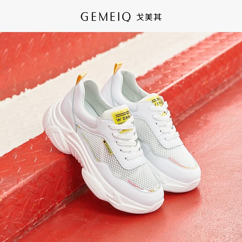 GEMEIQ chaussures pour femmes décontracté sport mode Sneaker plate-forme extensible tissu dames chaussures maille à lacets de haute qualité