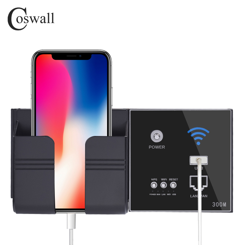 COSWALL 300M Wall Embedded Wireless AP Router USB Charging Port 1500mA Output Wall WIFI Routeur Panel Socket