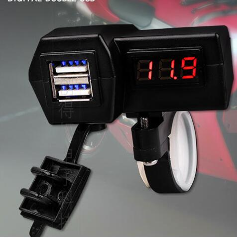 12V <font><b>24V</b></font> Motorcycle ATV <font><b>Scooter</b></font> LED Digital Display Voltage meter Dual USB Power Socket USB <font><b>Charger</b></font> Cigarette Lighter image