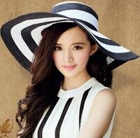2015 New Arrival Summer Hats Sun Hat Beach Visor Women Black Beach Hats Summer Girl Strip