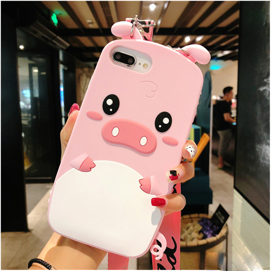 For iphone XS MAX XR 7 8 6 6s plus X case cover cute 3D cartoon pink pig with shoulder strap soft silicon shockproof phone bag