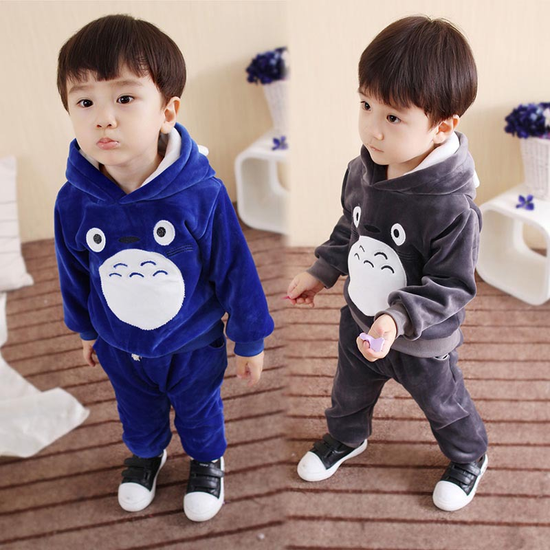 2018 New Baby Children Clothes Suits Totoro Cartoon Long Sleeve Hoodies Pant Toddler Baby Girls Autumn Clothes Warm Velvet Sets 2016 winter new soft bottom solid color baby shoes for little boys and girls plus velvet warm baby toddler shoes free shipping