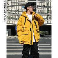Privathinker Men Winter Coats And Jackets 2018 Mens Japanese Streetwear Parka Jacket Male Hiphop Windbreake Cargo Hooded Coat