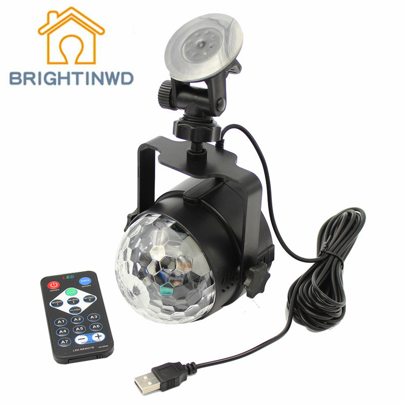 BRIGHTINWD USB Power Supply Vehicle Voice DJ Magic Crystal Ball Lights Outdoor Car KTV Sound Control Flash Flashing Laser Light