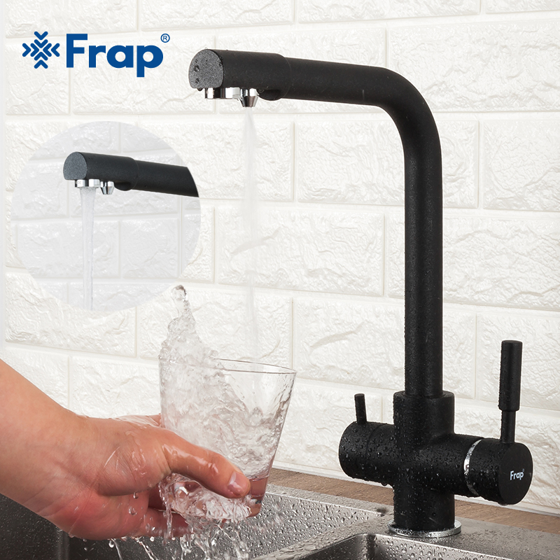 FRAP Kitchen Faucet 5 Color Brass Kichen Sink Faucet Water Mixer Taps With Filtered Water Mixer Cold And Hot Water Tapware