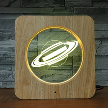 Saturn Planet 3D LED Plastic Nachtlampje DIY Aangepaste Lamp Tafellamp Kids Kleuren Gift Home Decor DropShipping 1538(China)