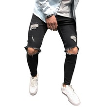 Ripped Jeans Fashion Man Hole Pencil Jeans Cowboy Pants Tight Jeans for Men Denim Skinny Male Trousers Men Clothing S-4XL