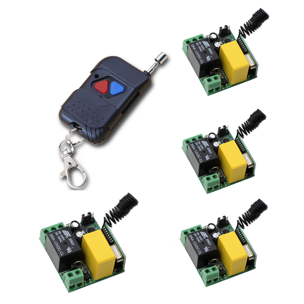 New Arrival 4pcs Mini Receivers & Transmitter RF Wireless AC220V Remote Control Switch 1CH 10A Relay Light Lamp LED Switch ac220v 1ch 10a rf wireless remote control switch system teleswitch 1 transmitter