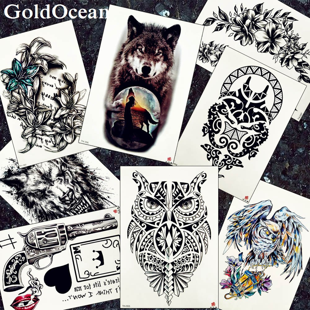 Women Black Henna Totem Tattoo Stickers Men Moon Large Wolf Arm Tattoos Temporary Owl Waist Water Transfer Tatoos Bracelet Art
