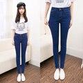 Новый 2017 женской моды для женщин длинные брюки женские плюс размер эластичные джинсы женщина карандаш джинсовые брюки синий серый черный цвет