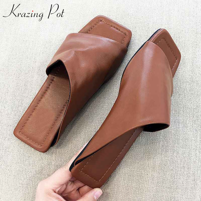 Krazing Pot classic design sheep leather peep toe flat with superstar flip flop chic elegant fashion