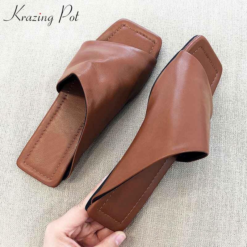Ayakk.'ten Kadın Sandaletleri'de Krazing Pot klasik tasarım koyun deri peep toe düz superstar ile flip flop şık zarif moda uygun tembel sandalet l32'da  Grup 1