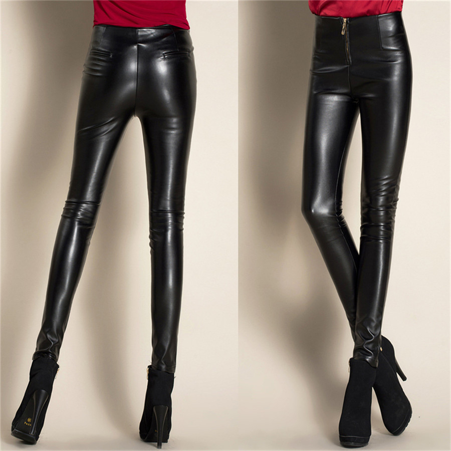 Autumn And Winter New Women Trousers European And American High Waist Leggings PU Leather Pants Slim Pencil Pants