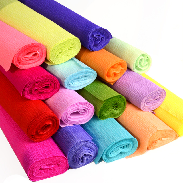 Craft Paper 50x250cm Colored Crepe Papers Wrapping Flowers Packing