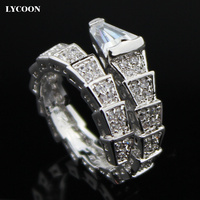 2016 Newest Fashion Plated Real Platinum Austrian Crystal Rings For Women Luxury Snake Shape Rings With