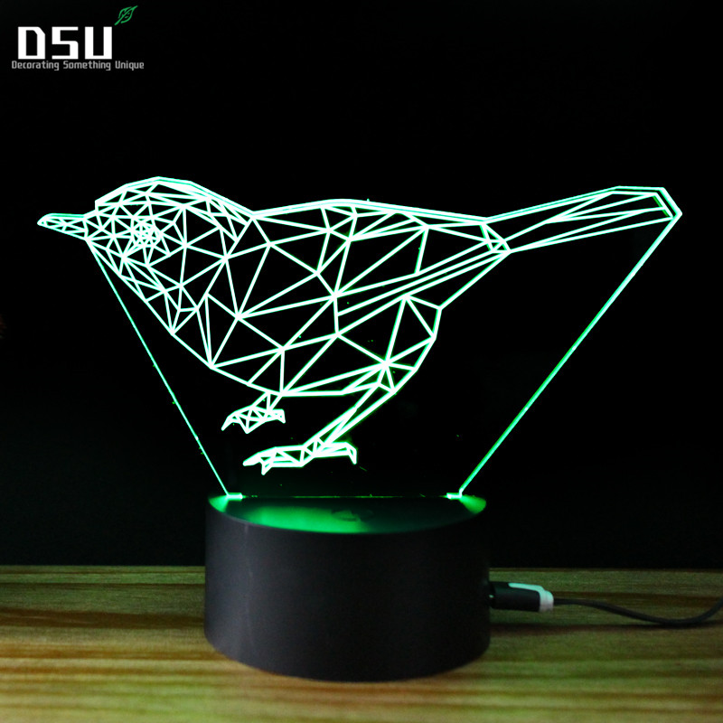 New Birds 3D Lights LED Colorful Gradient Art Table Lamps Wholesale Novelty USB Night Light Powerbank Kids Desk Lamp novelty led night light wireless remote control dimmable night lamp rgb kids children desk table lights usb 5v
