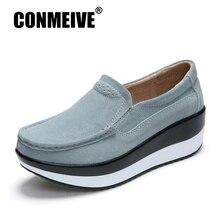 755eb32118 Breathable Suede Platform Shoes Fashion Casual Light Soft Women Flat Shoes  Convenient Slip-On Shallow