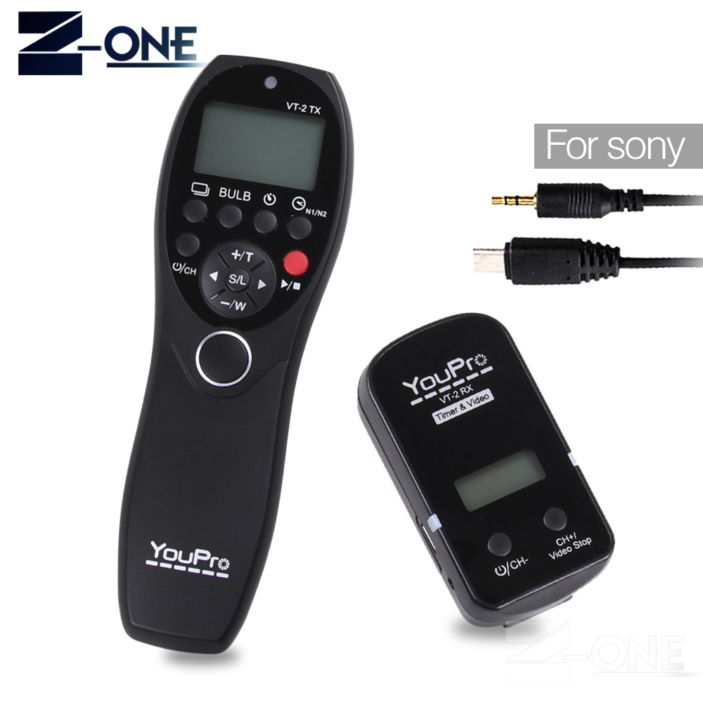 YouPro VT-2(S3) Wireless Remote Control Commander LCD Timer Shutter Release Video Transmitter Receiver for Sony Camera Camcorder 1 2 lcd wired remote shutter release for nikon camera black