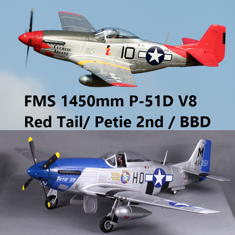 FMS 1450 MM 1.4 M (55.1 ) p51 P-51D V8 Mustang Petie 2nd/Rouge Queue 6CH 4S PNP Grand RC Modèle D'avion Avion Avion Warbird Un