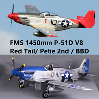 FMS 1450MM 1.4M (55.1) P51 P 51D V8 Mustang Petie 2nd / Red Tail / BBD 6CH 4S PNP Big RC Airplane Model Plane Aircraft Warbird