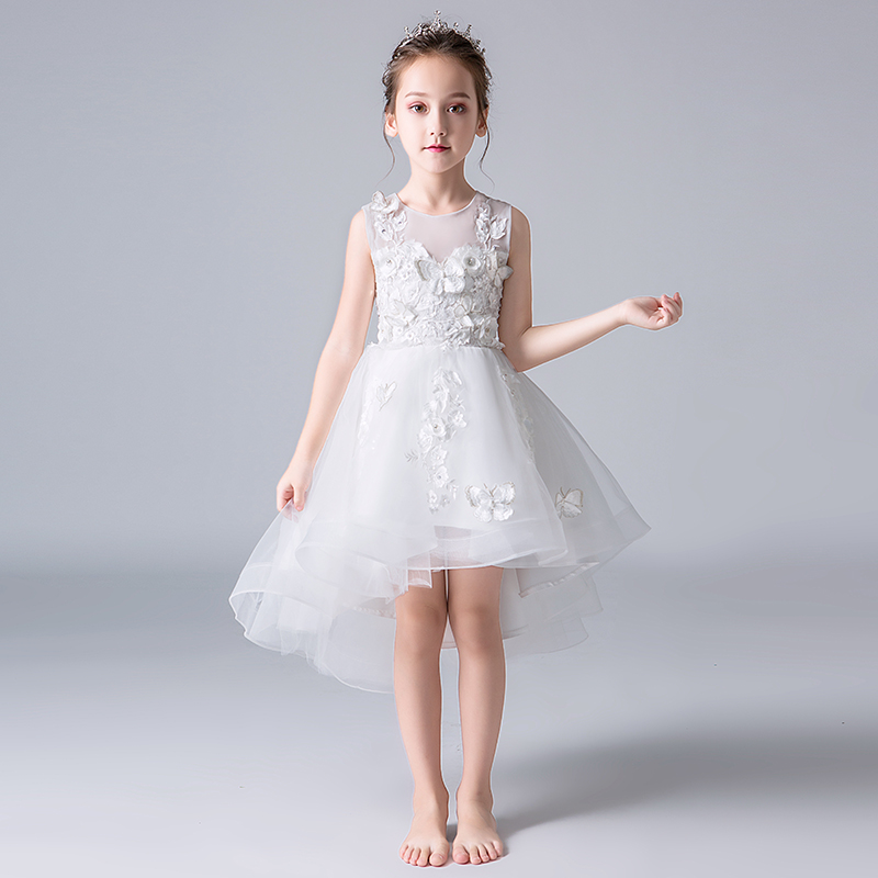 Elegant Appliques Lace Kids Princess Dress For Birthday Party Wedding White Tulle Ball Gown Elegant Formal